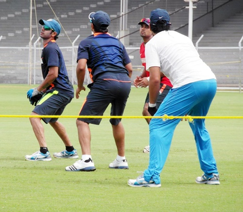 India A players at a practice session at the Brabourne stadium on Monday