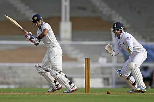 India 'A' Manoj Tiwary hits a shot on the first day of the warm-up game against England in Mumbai