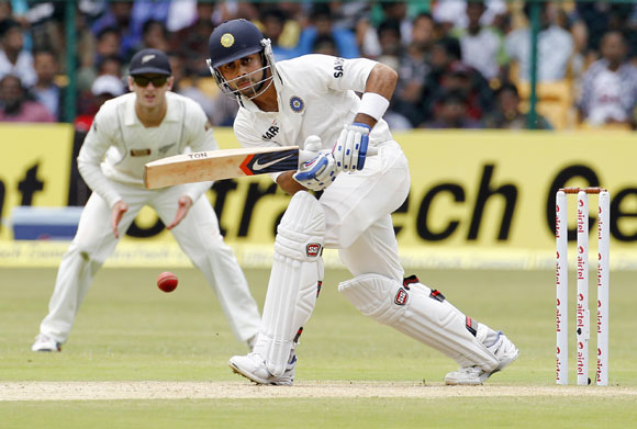 India's Virat Kohli plays a shot during the second day of their second Test match against New Zealand in Bangalore
