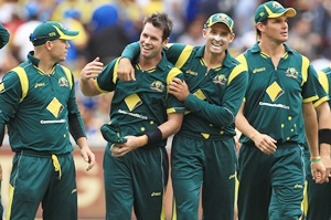 Daniel Christian (second left) of Australia celebrates with team mate Michael Hussey (centre)