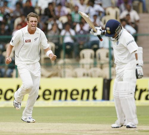 India's Sachin Tendulkar reacts after being bowled by New Zealand's Doug Bracewell