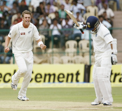 Sachin Tendulkar reacts after being bowled by New Zealand's Doug Bracewell in the 2nd Test