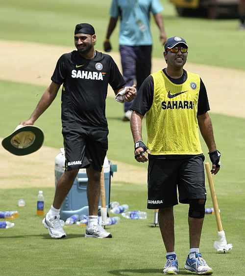 Yuvraj Singh and teammate Harbhajan Singh