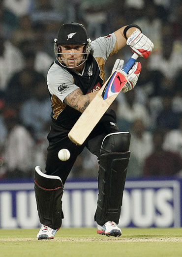 New Zealand's Brendon McCullum hits a shot during their second Twenty20 cricket match against India in Chennai