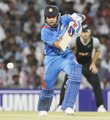 India's Virat Kohli hits a shot during their second Twenty20 cricket match against New Zealand in Chennai