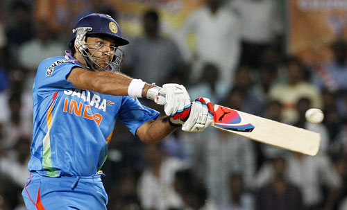 India's Yuvraj Singh runs as he leaves the field during their second Twenty20 cricket match against New Zealand in Chennai