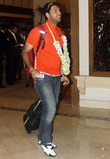 Yuvraj Singh arrives at the team's hotel ahead of the World Twenty20