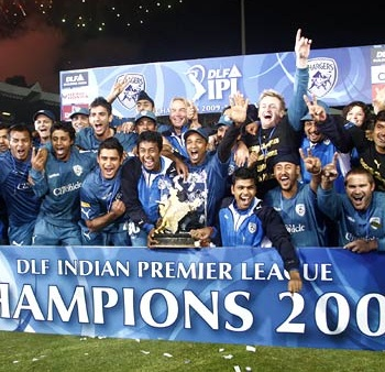 The Deccan Chargers team after winning the second edition of the IPL in SOuth Africa