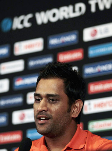 India's captain Mahendra Singh Dhoni speaks to reporters at a captains' news conference