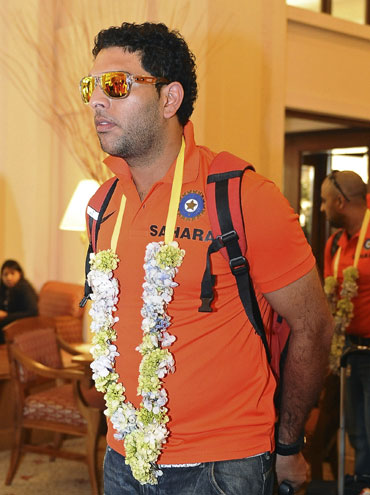 India's Yuvraj Singh arrives at a hotel ahead of the World Twenty20 cricket series in Colombo