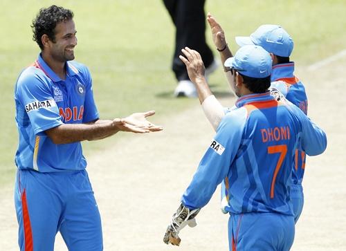 Irfan Pathan celebrates with teammates