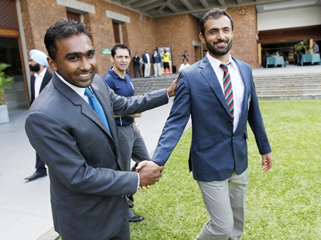 Sri Lanka's captain Mahela Jayawardene (left) and Afghanistan's captain Nawroz Mangal