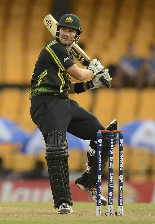Australia's Shane Watson hits out during the World Twenty20 group B match against Ireland at the R. Premadasa Stadium, Colombo