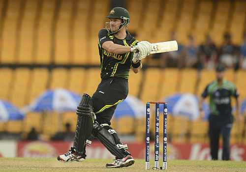 Australia's Shane Watson hits out during the ICC World Twenty20 group B match against Ireland at the R. Premadasa Stadium, Colombo