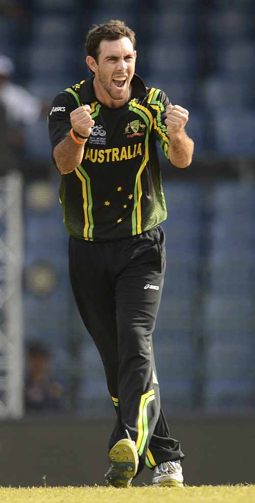 Australia's Glenn Maxwell celebrates dismissing Ireland's Ed Joyce during the World Twenty20 group B match at the R. Premadasa Stadium, Colombo