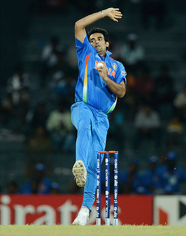 Zaheer Khan bowls during the match against Afghanistan