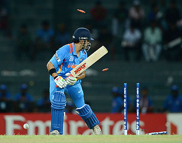 Gautam Gambhir is bowled by Shapoor Zadran of Afghanistan