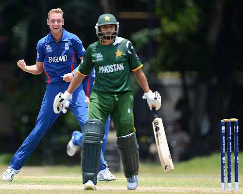 England's Stuart Broad celebrates after picking up the wicket of Shahid Afridi of Pakistan