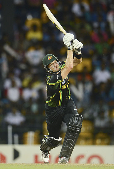Australia's Shane Watson hits a six during the World Twenty20 match against the West Indies on Saturday