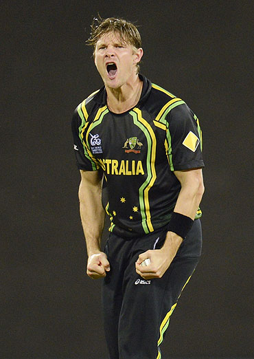 Australia's Shane Watson celebrates after dismissing West Indies' Chris Gayle