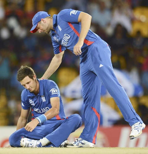 England's Steven Finn (left) is consoled by teammate Tim Bresnan