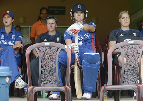 England's Sarah Taylor (centre) waits for her bat during their ICC Women's World Twenty20 warm-up match