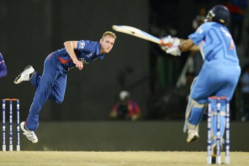 England's captain Stuart Broad bowls