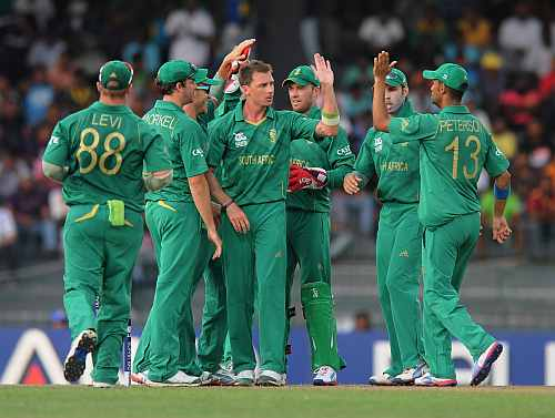 Dale Steyn of South Africa celebrates the wicket of Imran Nazir of Pakistan with teammate AB De Villiers during the Super Eight match between Pakistan and South Africa