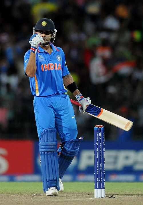 Virat Kholi celebrates victory in the ICC T20 World Cup, Super Eight group 2 match between Pakistan and India