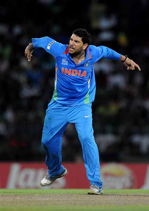 Yuvraj Singh celebrates the wicket of Kamran Akmal of Pakistan during the ICC T20 World Cup, Super Eight group 2 match between Pakistan and India
