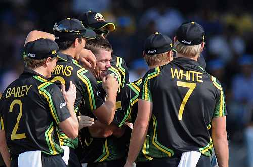 Xavier Doherty of Australia is congratulated by teammates as he claims the wicket of Jacques Kallis of South Africa during the Ninth super eight match between Australia and South Africa