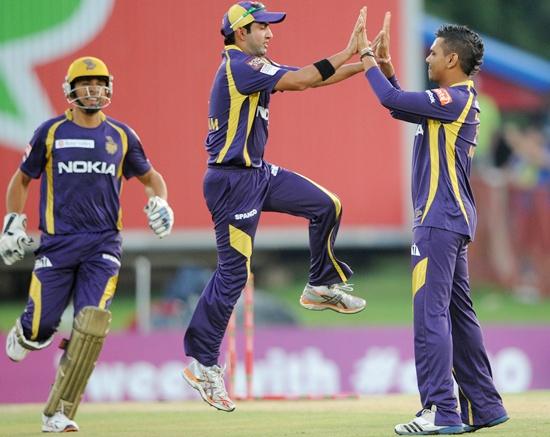 Sunil Narine (right) of the Knight Riders celebrates with Gautam Gambhir