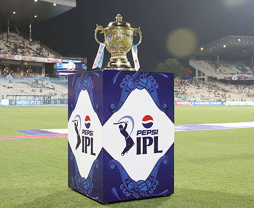 The Indian Premier League trophy on display before the match between Kolkata Knight Riders and Delhi Daredevils on Wednesday