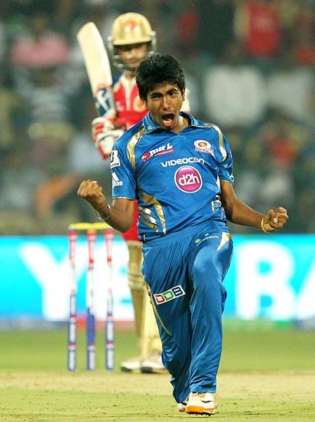 Jasprit Bumrah celebrates the wicket of Mayank Agarwal