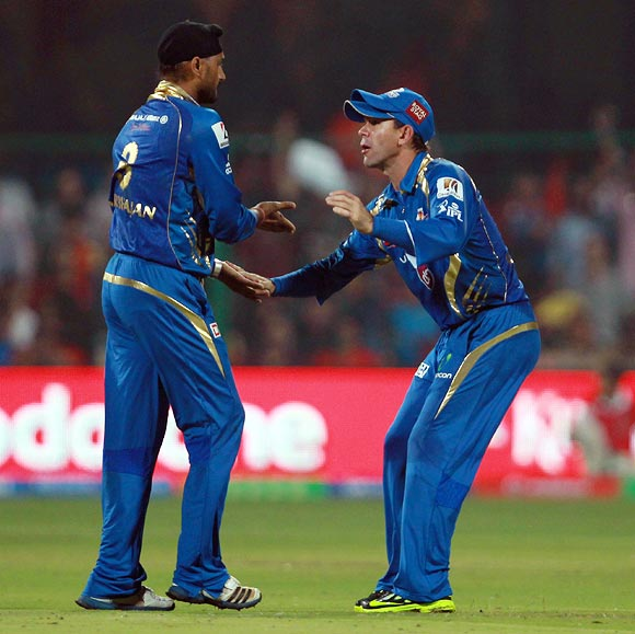 Ricky Ponting congratulates Harbhajan Singh on taking the wicket of Dan Christian