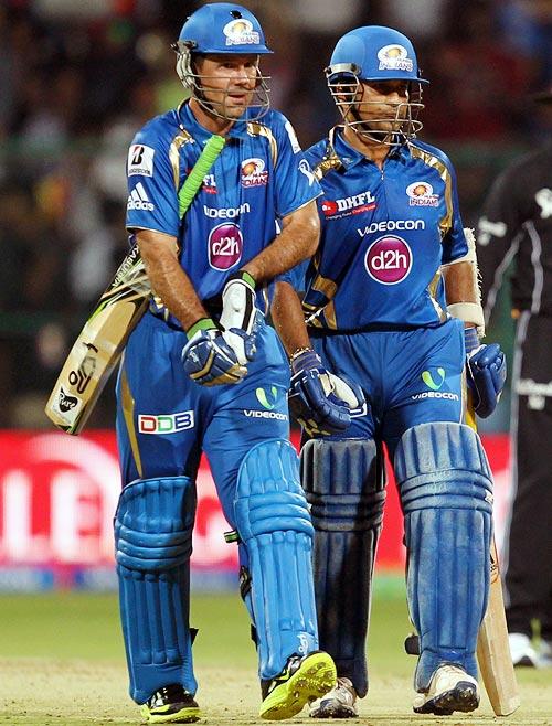 Ricky Ponting (left) with Sachin Tendulkar