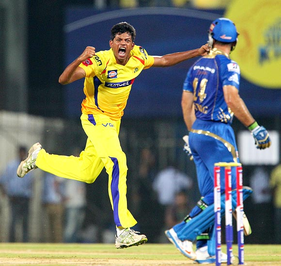 Ankit Rajpoot celebrates the wicket of Ricky Ponting