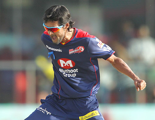 Shahbaz Nadeem of Delhi Daredevils celebrates after getting Ajinkya Rahane