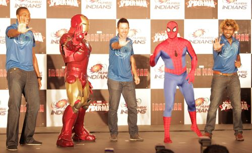 Ponting, Pollard, Malinga pose with Ironman and Spiderman