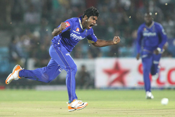Rahul Shukla of Rajasthan Royals celebrates after bowling Manvinder Bisla of Kolkata Knight Riders