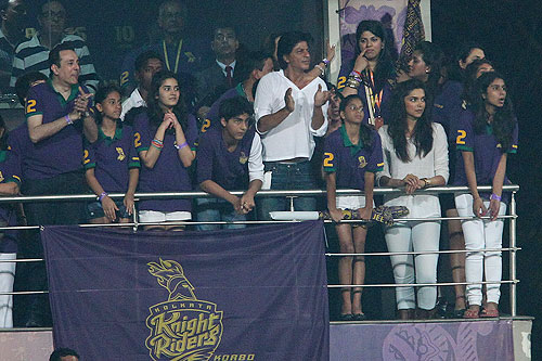 Shah Rukh Khan cheers on KKR during the opening match of the Indian Premier League between the Kolkata Knight Riders and Delhi Daredevils