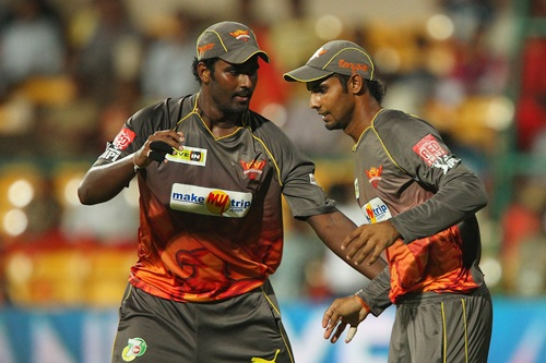 Thisara Perera and Hanuma Vihari celebrate the dismissal of AB de Villiers