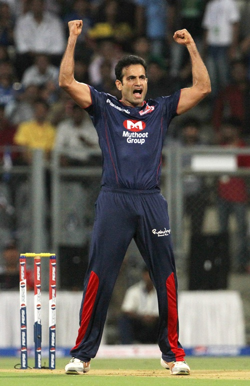 Irfan Pathan celebrates after getting the wicket of Ricky Ponting