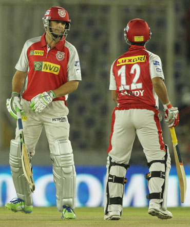 Kings XI Punjab captain Adam Gilchrist with Kings XI Punjab player Mandeep Singh