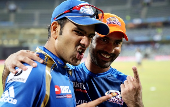 Dinesh Karthik (right) with Rohit Sharma