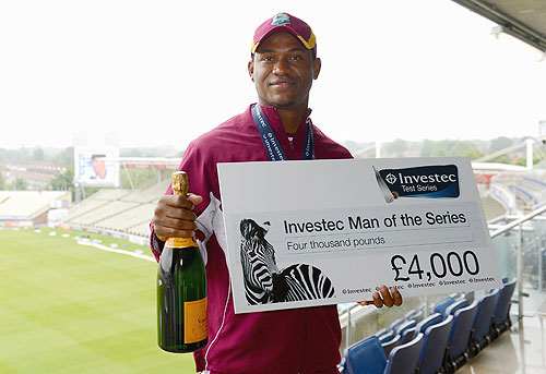 Marlon Samuels of the West Indies with his man of the series award after the 3rd Test match between England and the West Indies at Edgbaston on June 11, 2012 in Birmingham