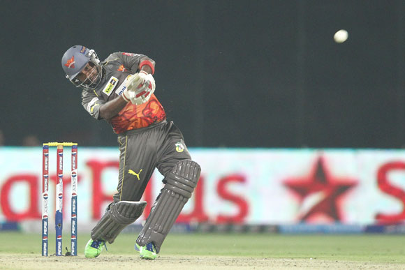 Amit Mishra of Sunrisers Hyderabad hits over the top