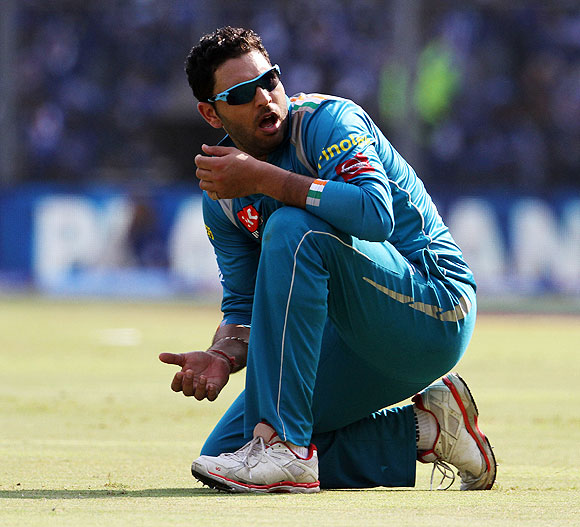 Yuvraj Singh reacts after dropping Rohit Sharma