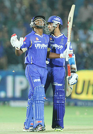 Rajasthan Royals' player Sanju Samson and Ajinkya Rahane celebrate after defeating Punjab on Sunday