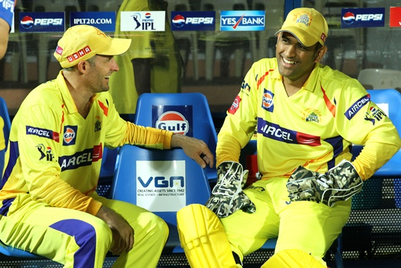 Mike Hussey with MS Dhoni (right)